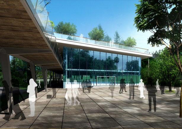 设计师瓦屋下沉广场效果图;常州新区中心公园广场建筑设计;景观风管t20中如何绘制天正图片
