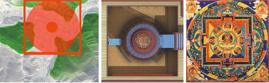 我们从坛城图案抽象出简单的圆和方作为博物馆的平面肌理,以祈福坛城